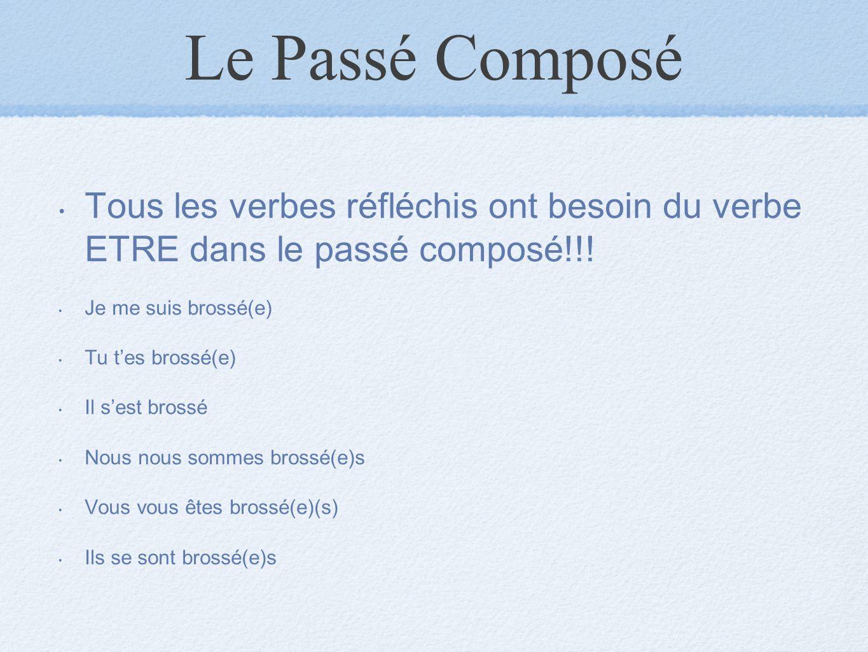 Le Passé Composé Tous les verbes réfléchis ont besoin du verbe ETRE dans le passé composé!!! Je me suis brossé(e) Tu t'es brossé(e) Il s'est brossé No