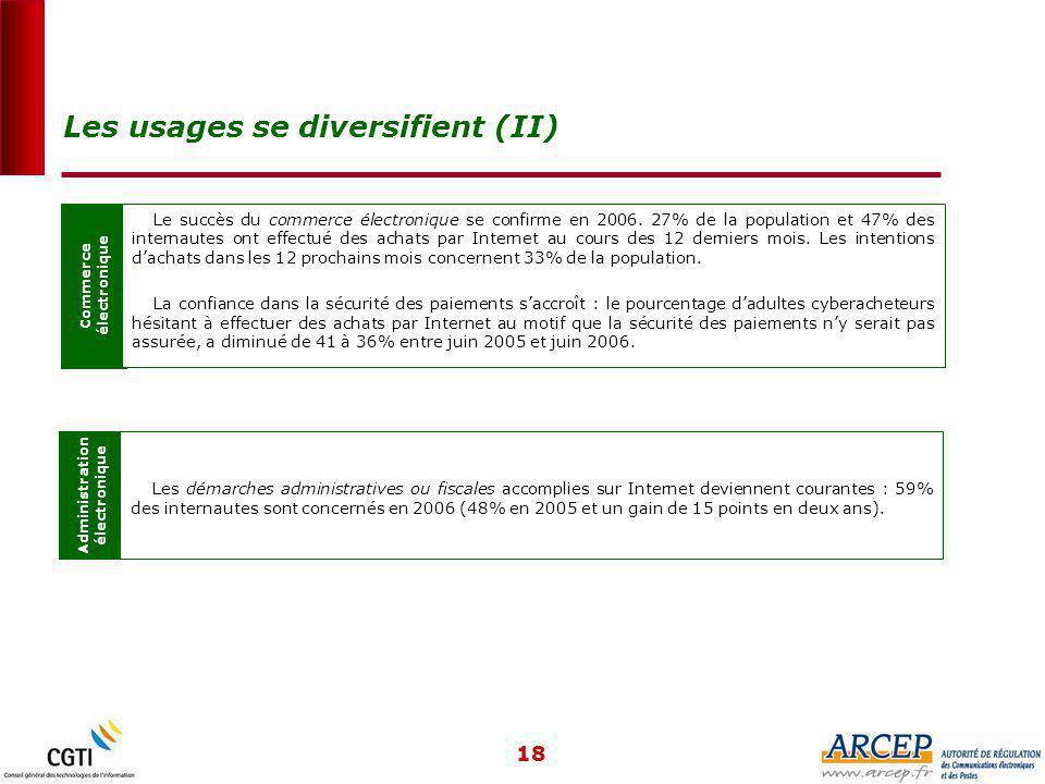 18 Commerce électronique Le succès du commerce électronique se confirme en 2006.