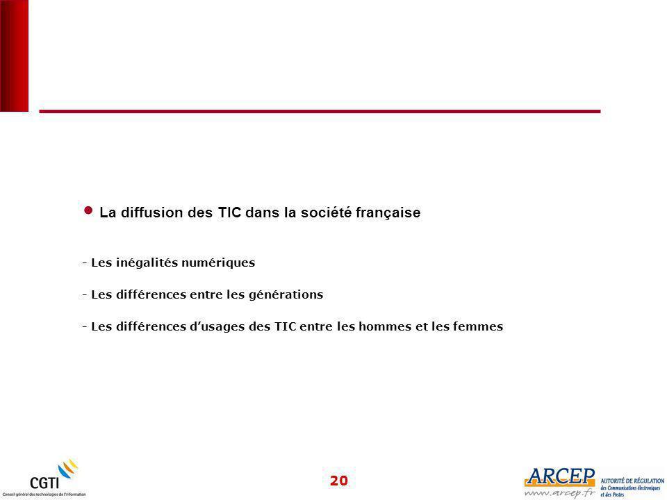 20 La diffusion des TIC dans la société française - Les inégalités numériques - Les différences entre les générations - Les différences d'usages des TIC entre les hommes et les femmes