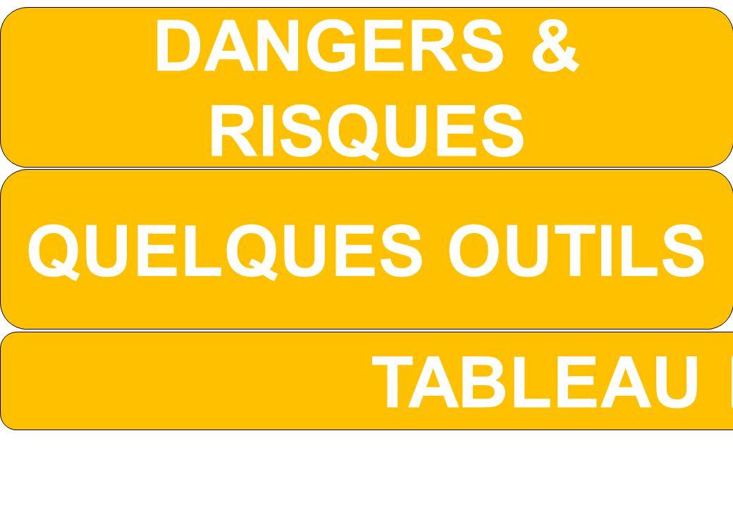 DANGERS & RISQUES QUELQUES OUTILS TABLEAU E CHASSE