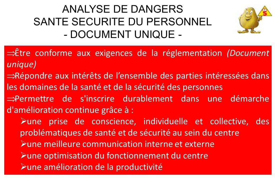  Être conforme aux exigences de la réglementation (Document unique)  Répondre aux intérêts de l'ensemble des parties intéressées dans les domaines d