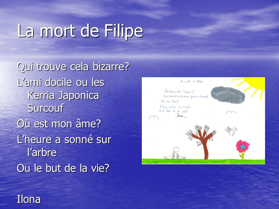 La mort de Filipe Qui trouve cela bizarre? L'ami docile ou les Kerria Japonica Surcouf Où est mon âme? L'heure a sonné sur l'arbre Ou le but de la vie