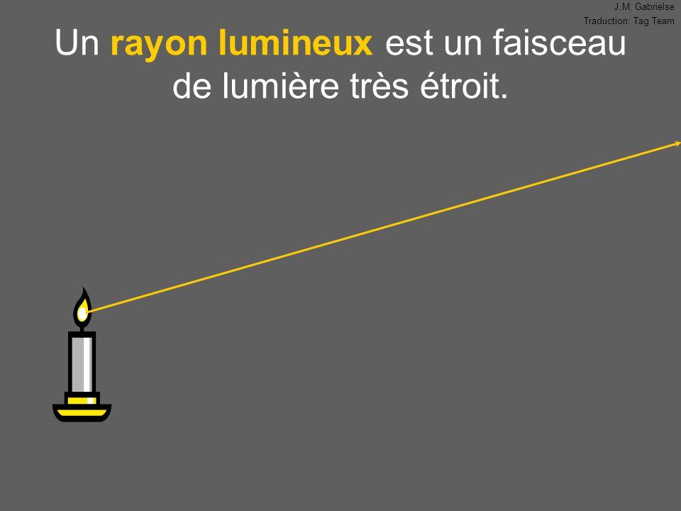 J.M. Gabrielse Traduction: Tag Team Un rayon lumineux est un faisceau de lumière très étroit.