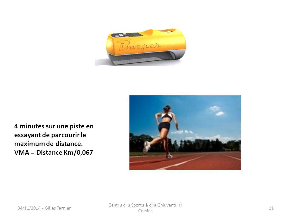 04/11/2014 - Gilles Tarnier Centru di u Sportu è di à Ghjuventù di Corsica 11 4 minutes sur une piste en essayant de parcourir le maximum de distance.