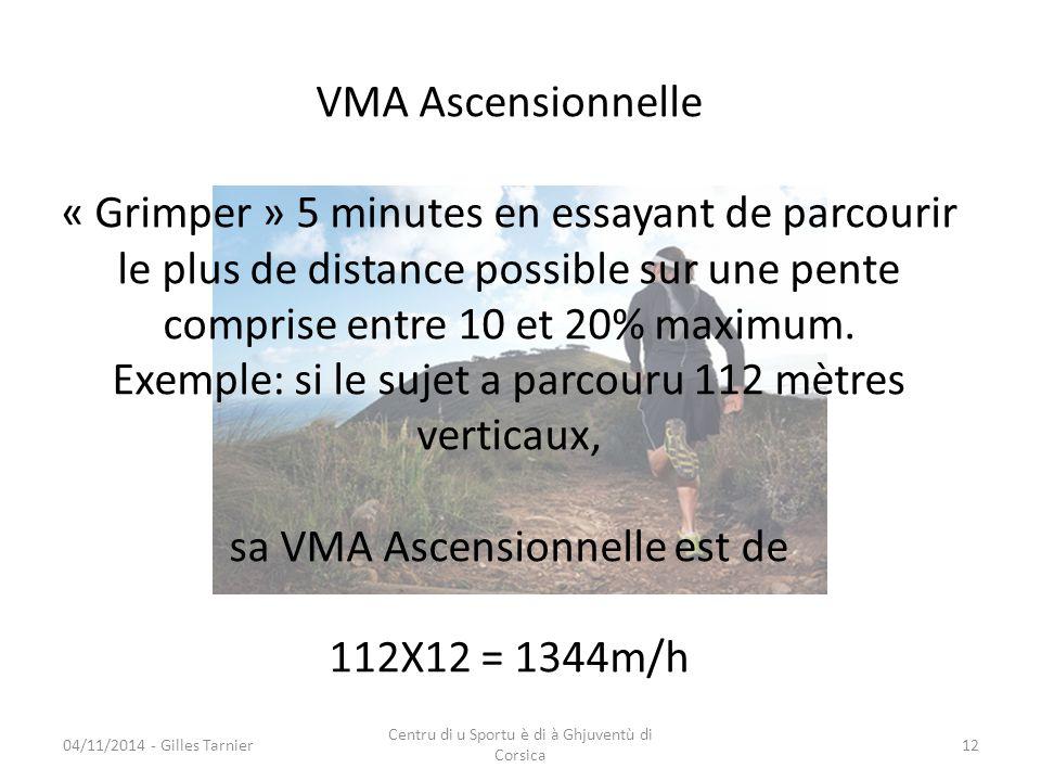 VMA Ascensionnelle « Grimper » 5 minutes en essayant de parcourir le plus de distance possible sur une pente comprise entre 10 et 20% maximum. Exemple