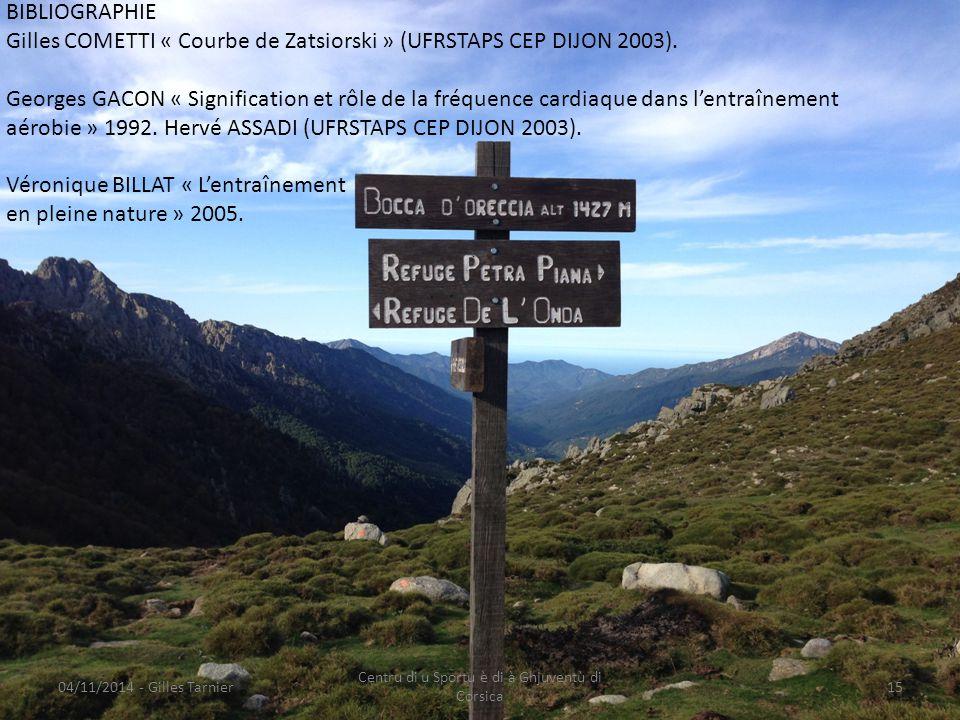 04/11/2014 - Gilles Tarnier Centru di u Sportu è di à Ghjuventù di Corsica 15 BIBLIOGRAPHIE Gilles COMETTI « Courbe de Zatsiorski » (UFRSTAPS CEP DIJO