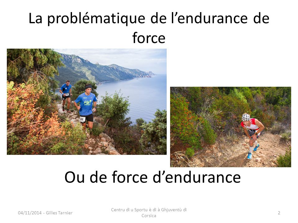 La problématique de l'endurance de force 04/11/2014 - Gilles Tarnier Centru di u Sportu è di à Ghjuventù di Corsica 2 Ou de force d'endurance
