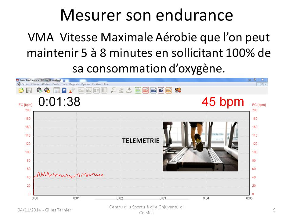 04/11/2014 - Gilles Tarnier Centru di u Sportu è di à Ghjuventù di Corsica 9 Mesurer son endurance TELEMETRIE VMA Vitesse Maximale Aérobie que l'on pe