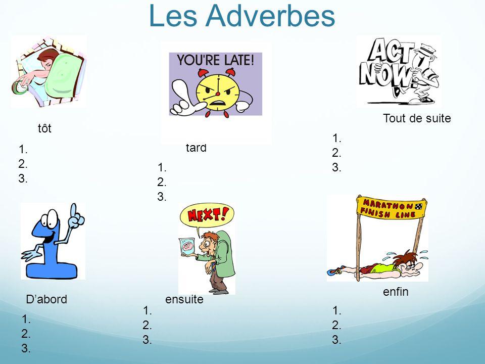 Les Adverbes ensuite tôt tard D'abord enfin Tout de suite 1.