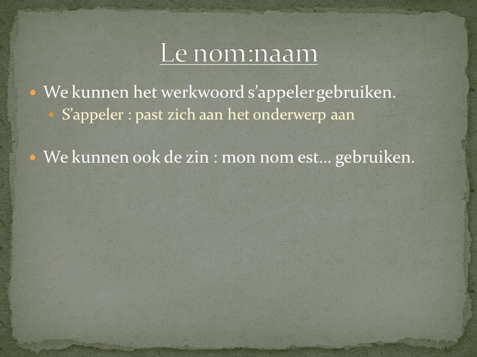 We kunnen het werkwoord s'appeler gebruiken. S'appeler : past zich aan het onderwerp aan We kunnen ook de zin : mon nom est… gebruiken.