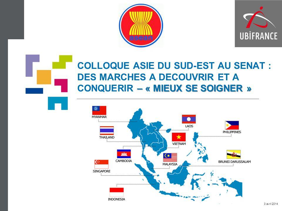 « Mieux se soigner » en ASEAN PRODUITS PHARMACEUTIQUES PRODUITS PHARMACEUTIQUES TECHNOLOGIES MEDICALES TECHNOLOGIES MEDICALES COSMETIQUE COSMETIQUE 2011 16,1 mds $ 2015 23,5 mds $ 2011 4,8 mds $ 2015 7,8 mds $ 2012 11,8 mds $ 2015 13,3 mds $ Evolution des importations (2008-2012 / M$) + 17,5 % + 12,8 % + 11,8 % + 11,4 % Croissance import 2012 Evolution des importations (2008-2012 / M$) Sources : Frost & Sullivan GTA Ubifrance Euromonitor + 14,4 % Croissance import 2012 + 25,4 % + 13,8 % + 12,3 % + 12,8 % Evolution des importations (2008-2012 / M$) Croissance import 2012 + 21,4 % + 14,2 % Top 3 pays fournisseurs Suisse Etats-Unis Belgique Top 3 pays fournisseurs Singapour France Thaïlande Top 3 pays fournisseurs Etats-Unis Singapour Chine