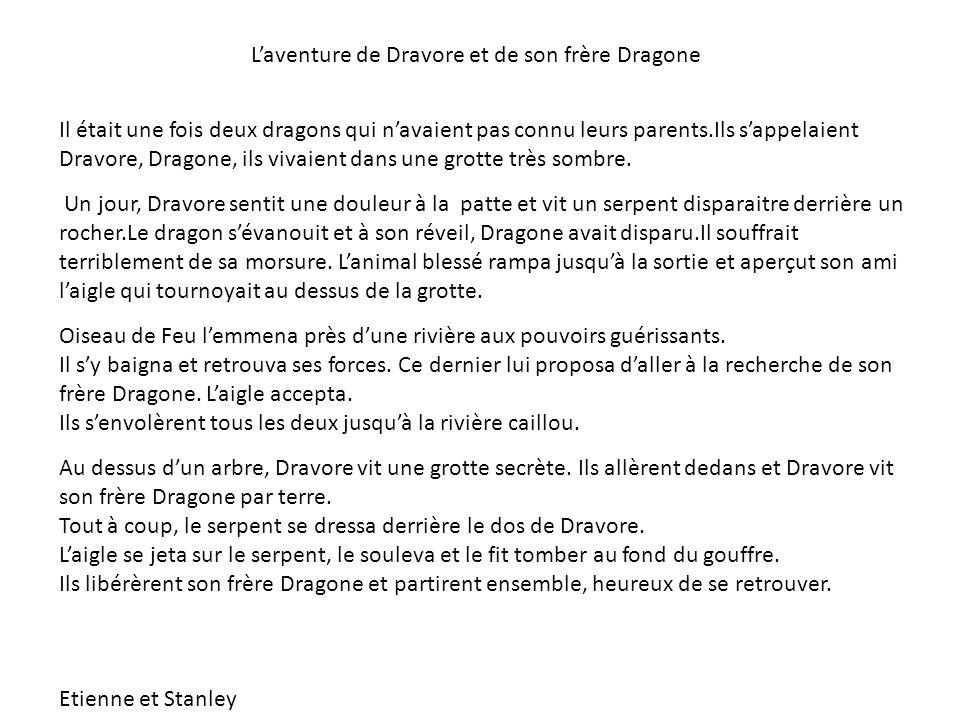 L'aventure de Dravore et de son frère Dragone Il était une fois deux dragons qui n'avaient pas connu leurs parents.Ils s'appelaient Dravore, Dragone,