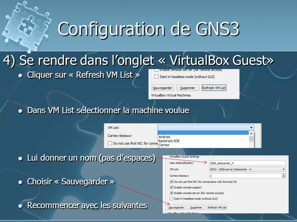 Configuration de GNS3 4) Se rendre dans l'onglet « VirtualBox Guest» Cliquer sur « Refresh VM List » Dans VM List sélectionner la machine voulue Lui d