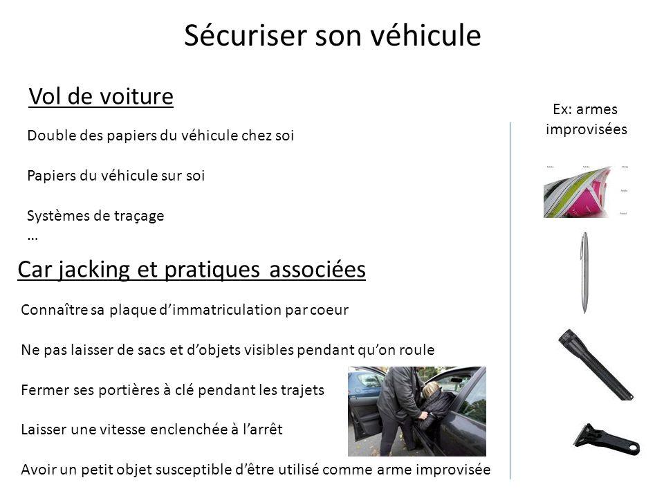 Sécuriser son véhicule Vol de voiture Car jacking et pratiques associées Connaître sa plaque d'immatriculation par coeur Ne pas laisser de sacs et d'o