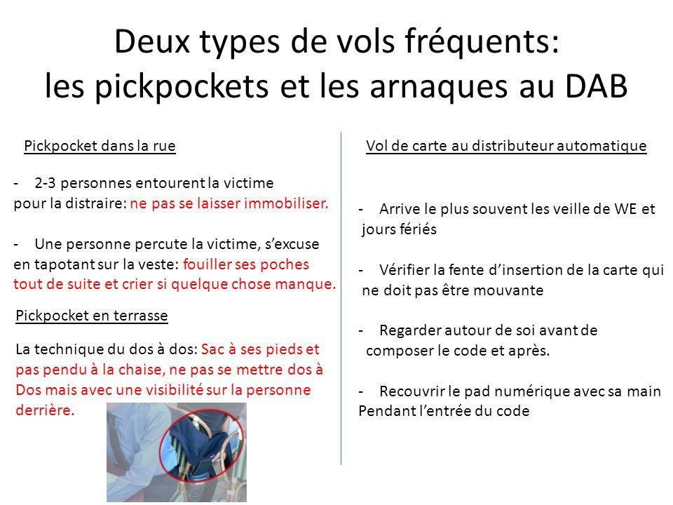 Deux types de vols fréquents: les pickpockets et les arnaques au DAB Pickpocket dans la rue -2-3 personnes entourent la victime pour la distraire: ne pas se laisser immobiliser.