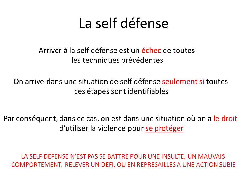 La self défense Arriver à la self défense est un échec de toutes les techniques précédentes On arrive dans une situation de self défense seulement si toutes ces étapes sont identifiables Par conséquent, dans ce cas, on est dans une situation où on a le droit d'utiliser la violence pour se protéger LA SELF DEFENSE N'EST PAS SE BATTRE POUR UNE INSULTE, UN MAUVAIS COMPORTEMENT, RELEVER UN DEFI, OU EN REPRESAILLES A UNE ACTION SUBIE