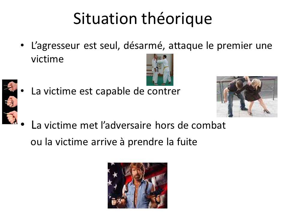 Situation théorique L'agresseur est seul, désarmé, attaque le premier une victime La victime est capable de contrer L a victime met l'adversaire hors de combat ou la victime arrive à prendre la fuite