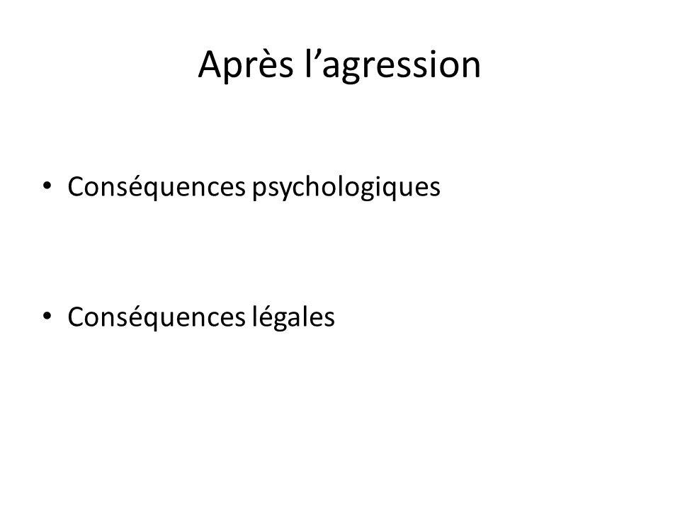 Après l'agression Conséquences psychologiques Conséquences légales