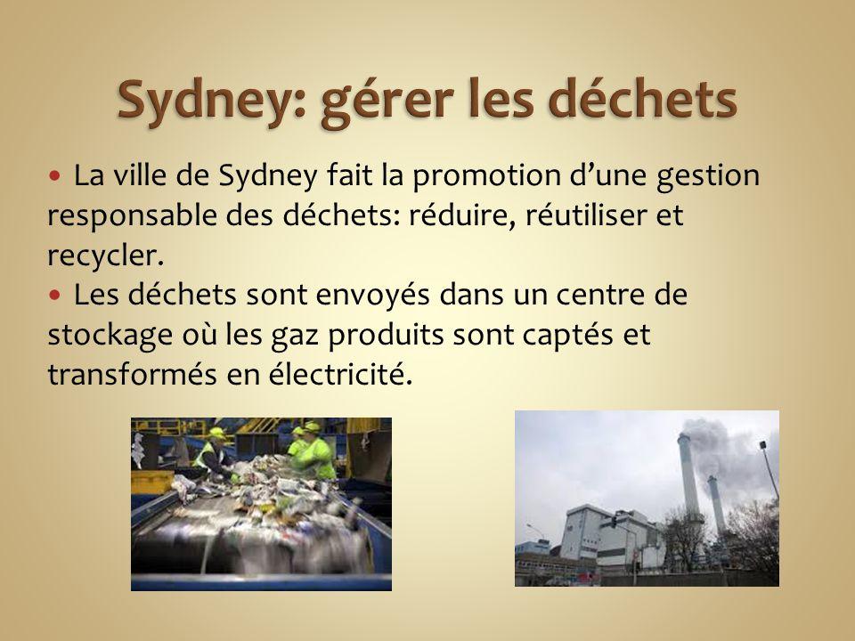 La ville de Sydney fait la promotion d'une gestion responsable des déchets: réduire, réutiliser et recycler. Les déchets sont envoyés dans un centre d