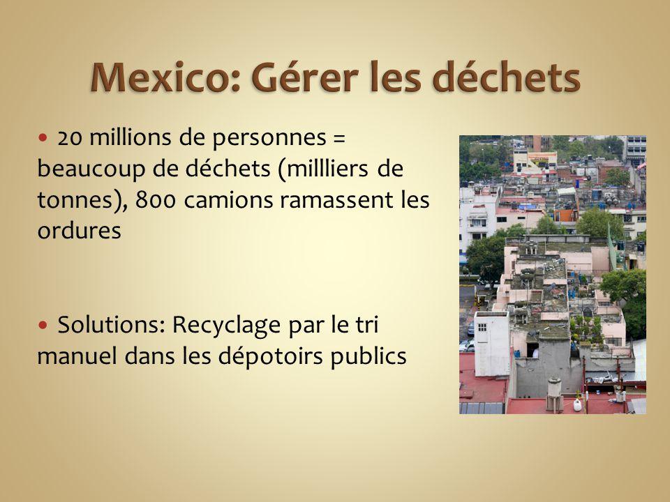20 millions de personnes = beaucoup de déchets (millliers de tonnes), 800 camions ramassent les ordures Solutions: Recyclage par le tri manuel dans les dépotoirs publics