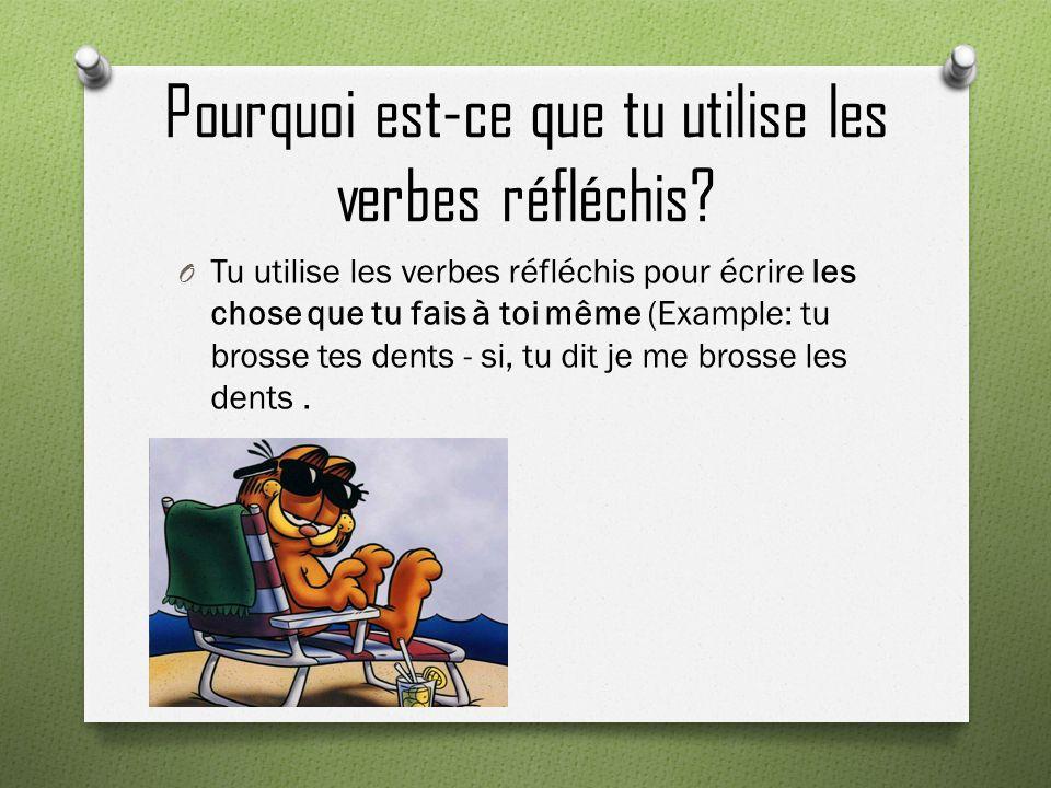 Pourquoi est-ce que tu utilise les verbes réfléchis? O Tu utilise les verbes réfléchis pour écrire les chose que tu fais à toi même (Example: tu bross
