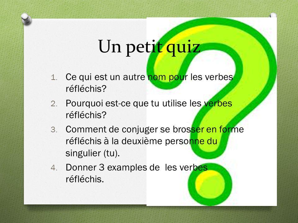 Les réponses pour le petit quiz 1.Les verbes réfléchis s'appelent aussi les verbes pronominaux.