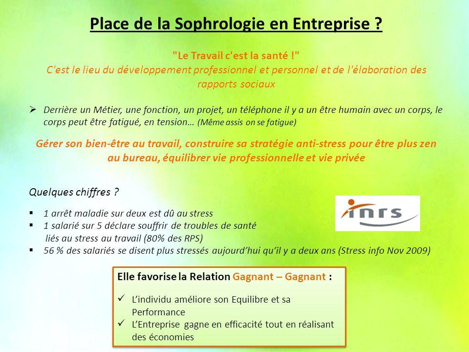 La Sophrologie en Entreprise Place de la Sophrologie en Entreprise .