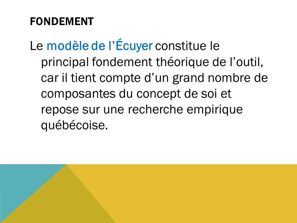FONDEMENT Le modèle de l'Écuyer constitue le principal fondement théorique de l'outil, car il tient compte d'un grand nombre de composantes du concept