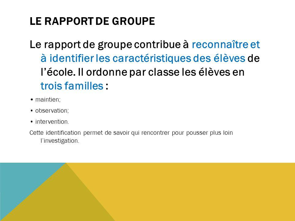 LE RAPPORT DE GROUPE Le rapport de groupe contribue à reconnaître et à identifier les caractéristiques des élèves de l'école. Il ordonne par classe le