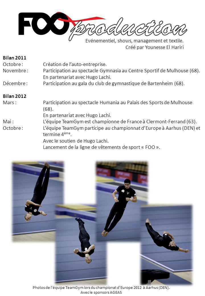Bilan 2011 Octobre : Création de l'auto-entreprise. Novembre :Participation au spectacle Gymnasia au Centre Sportif de Mulhouse (68). En partenariat a