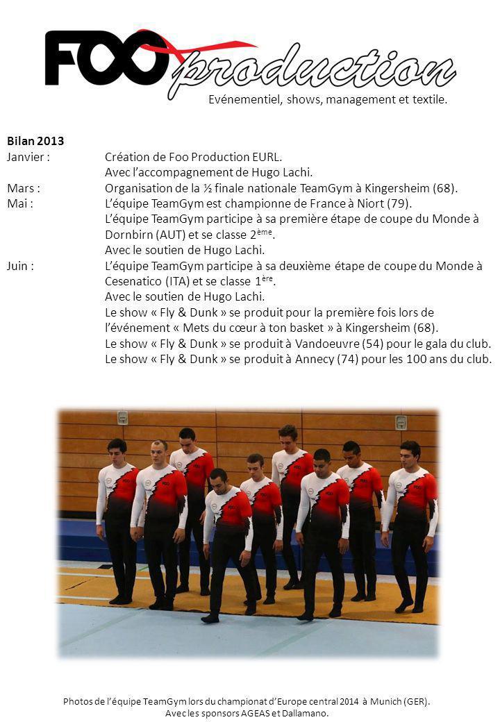 Bilan 2013 Janvier :Création de Foo Production EURL. Avec l'accompagnement de Hugo Lachi. Mars :Organisation de la ½ finale nationale TeamGym à Kinger