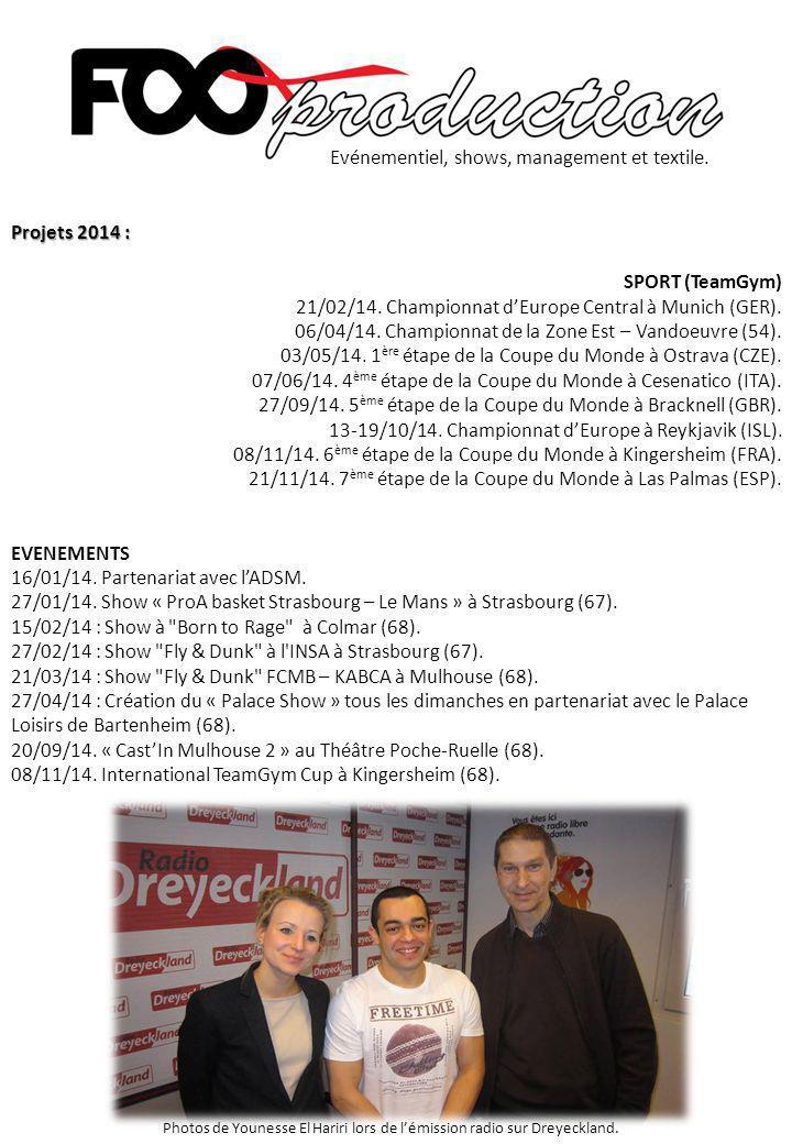 Projets 2014 : SPORT (TeamGym) 21/02/14. Championnat d'Europe Central à Munich (GER). 06/04/14. Championnat de la Zone Est – Vandoeuvre (54). 03/05/14