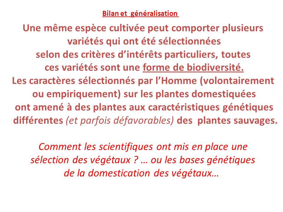 Une même espèce cultivée peut comporter plusieurs variétés qui ont été sélectionnées selon des critères d'intérêts particuliers, toutes ces variétés s