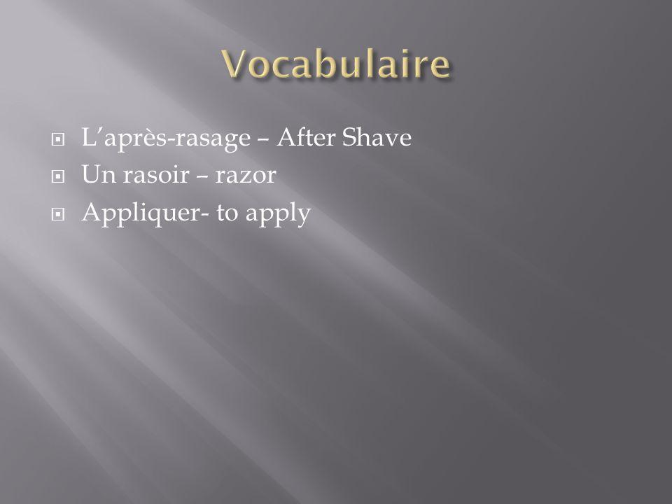  L'après-rasage – After Shave  Un rasoir – razor  Appliquer- to apply
