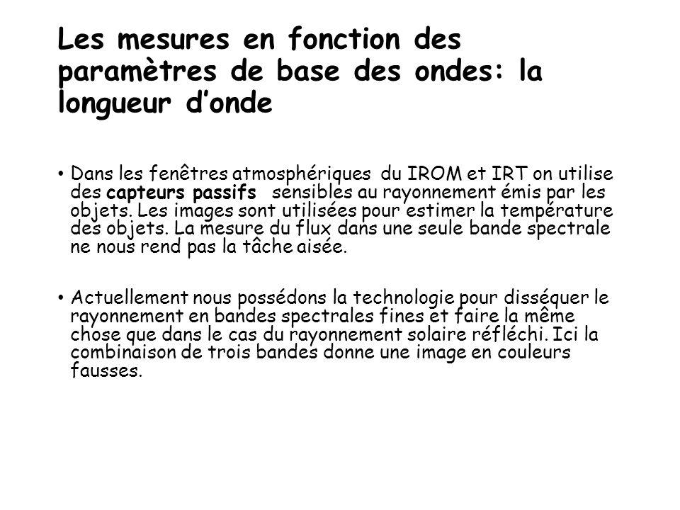 Les mesures en fonction des paramètres de base des ondes: la longueur d'onde Dans les fenêtres atmosphériques du IROM et IRT on utilise des capteurs p