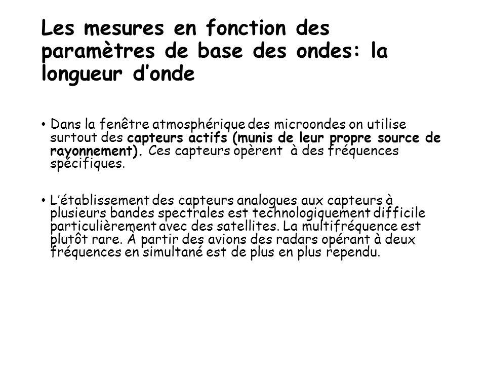 Les mesures en fonction des paramètres de base des ondes: la longueur d'onde Dans la fenêtre atmosphérique des microondes on utilise surtout des capte