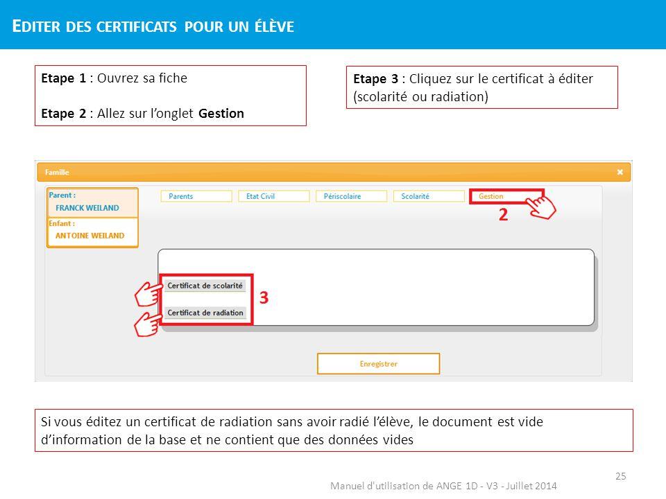 Manuel d'utilisation de ANGE 1D - V3 - Juillet 2014 Etape 1 : Ouvrez sa fiche Etape 2 : Allez sur l'onglet Gestion Etape 3 : Cliquez sur le certificat