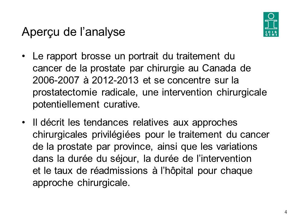 Aperçu de l'analyse Le rapport brosse un portrait du traitement du cancer de la prostate par chirurgie au Canada de 2006-2007 à 2012-2013 et se concentre sur la prostatectomie radicale, une intervention chirurgicale potentiellement curative.