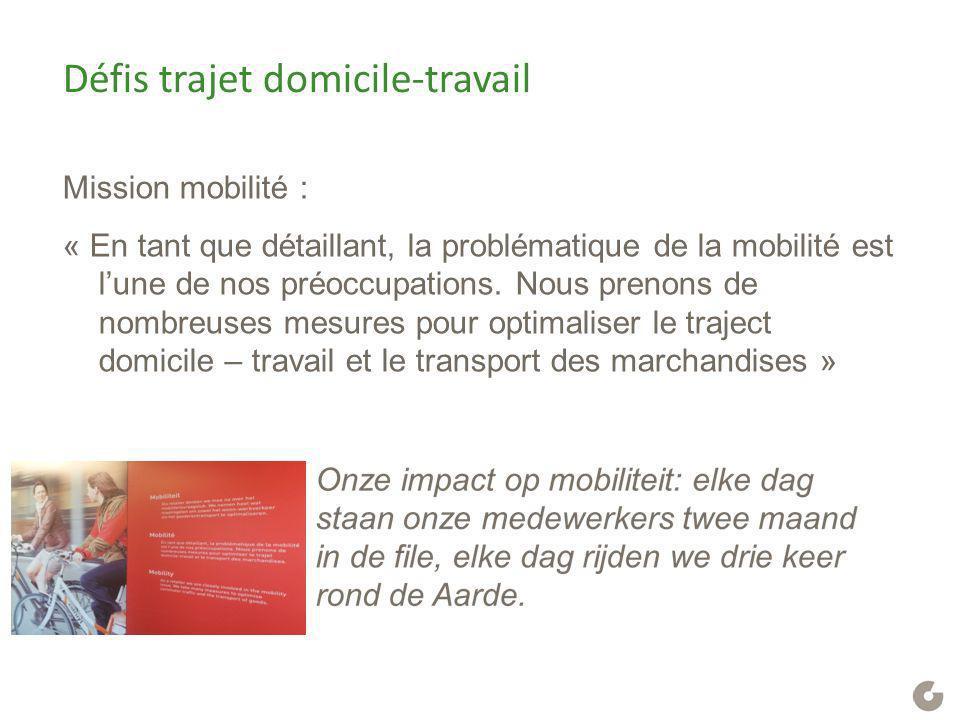Défis trajet domicile-travail Mission mobilité : « En tant que détaillant, la problématique de la mobilité est l'une de nos préoccupations. Nous preno