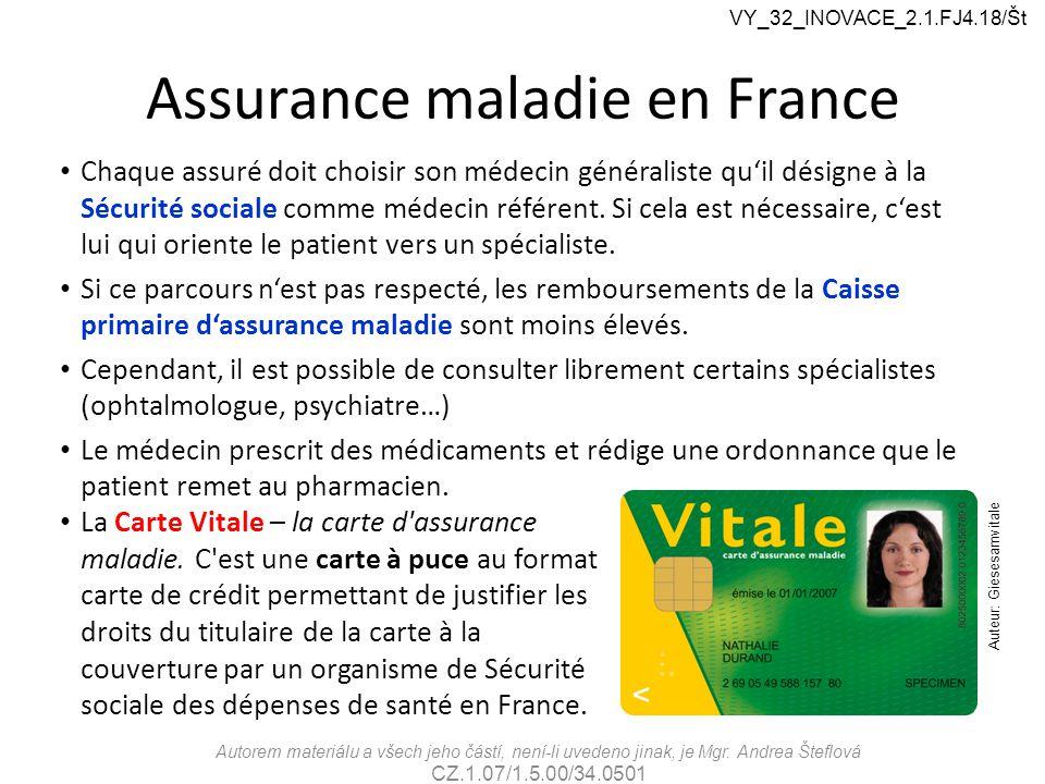 Assurance maladie en France Autorem materiálu a všech jeho částí, není-li uvedeno jinak, je Mgr. Andrea Šteflová CZ.1.07/1.5.00/34.0501 VY_32_INOVACE_