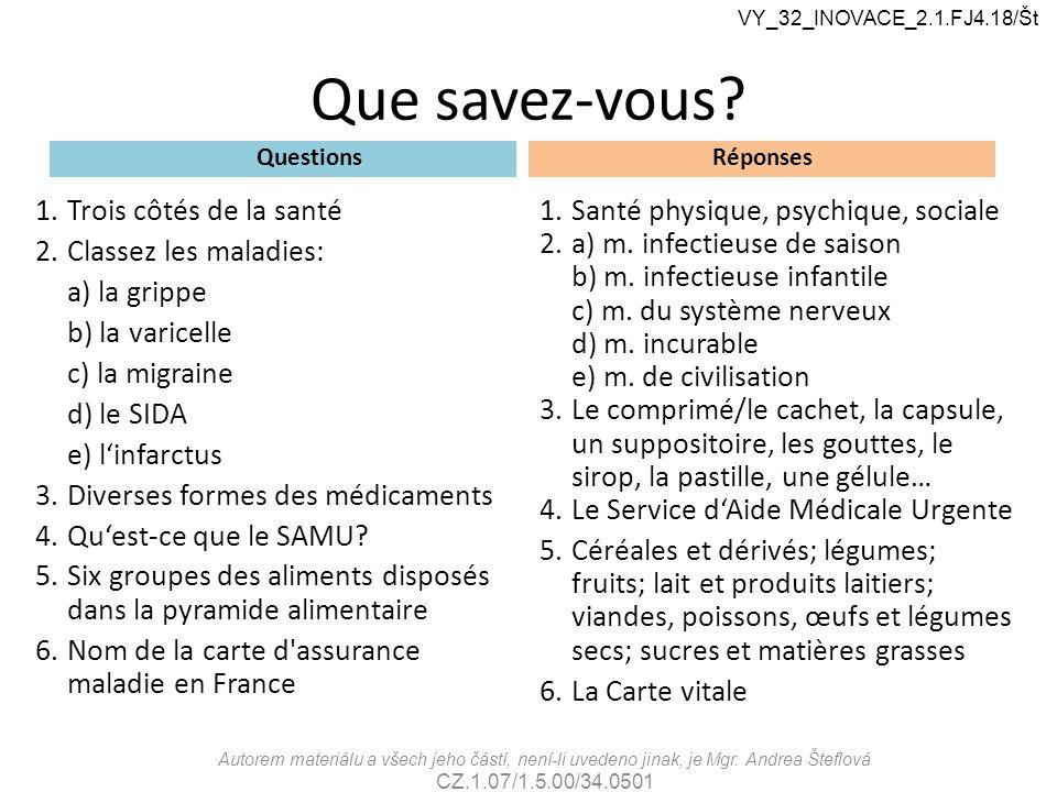 Que savez-vous? Questions 1.Trois côtés de la santé 2.Classez les maladies: a) la grippe b) la varicelle c) la migraine d) le SIDA e) l'infarctus 3.Di