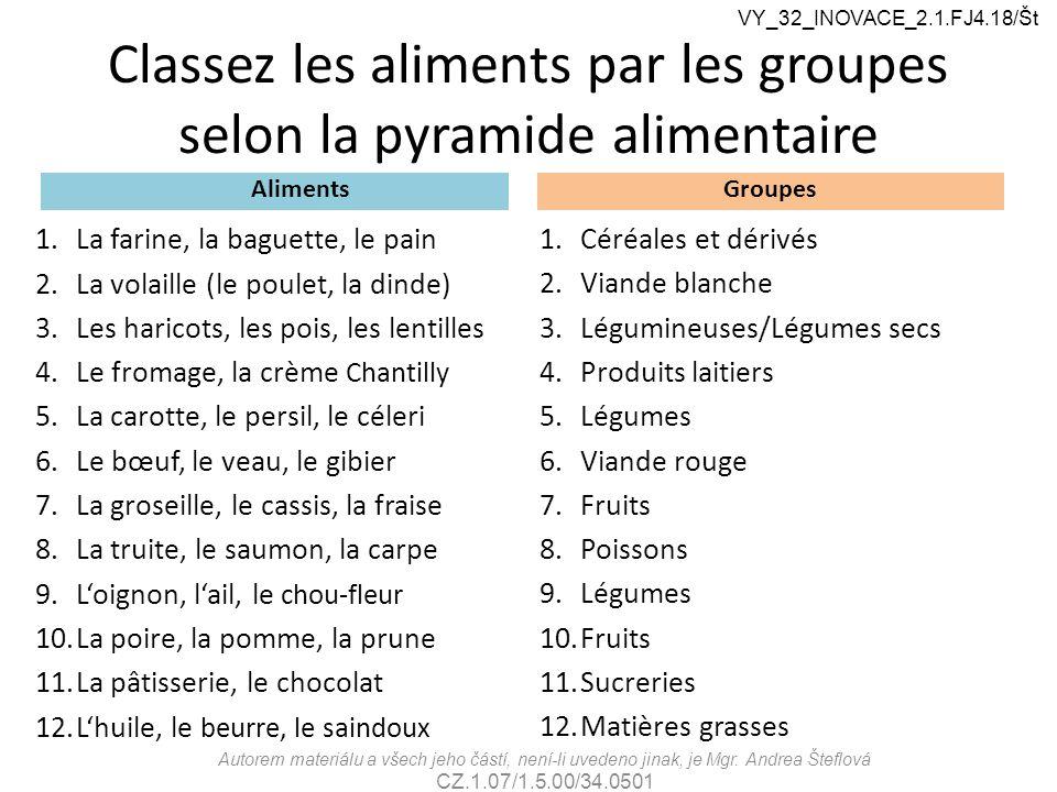 Classez les aliments par les groupes selon la pyramide alimentaire Aliments 1.La farine, la baguette, le pain 2.La volaille (le poulet, la dinde) 3.Le