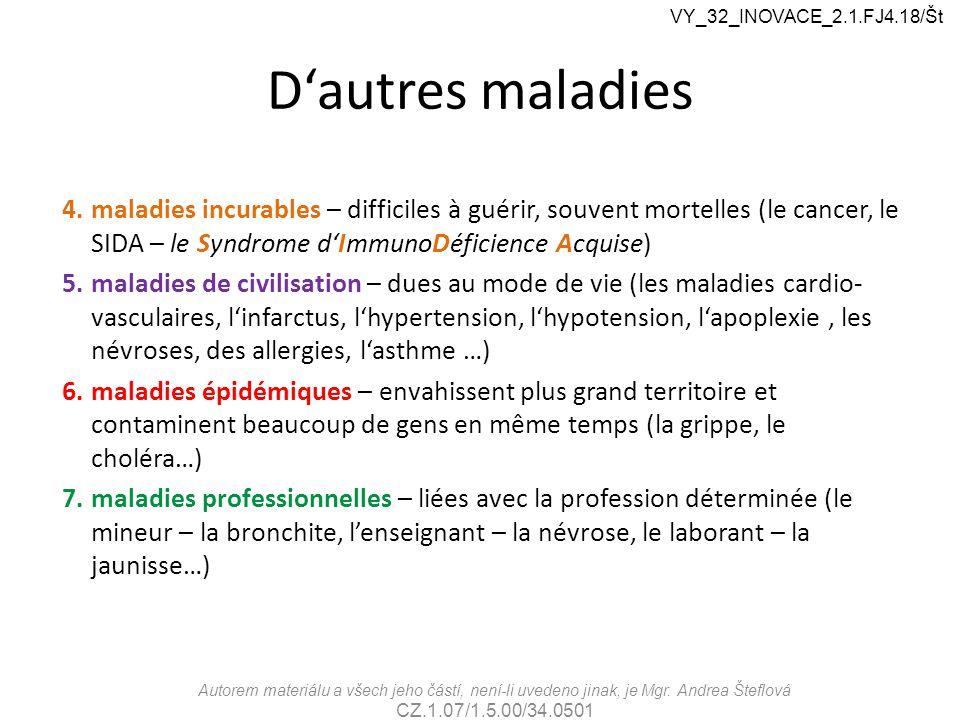 D'autres maladies Autorem materiálu a všech jeho částí, není-li uvedeno jinak, je Mgr. Andrea Šteflová CZ.1.07/1.5.00/34.0501 VY_32_INOVACE_2.1.FJ4.18