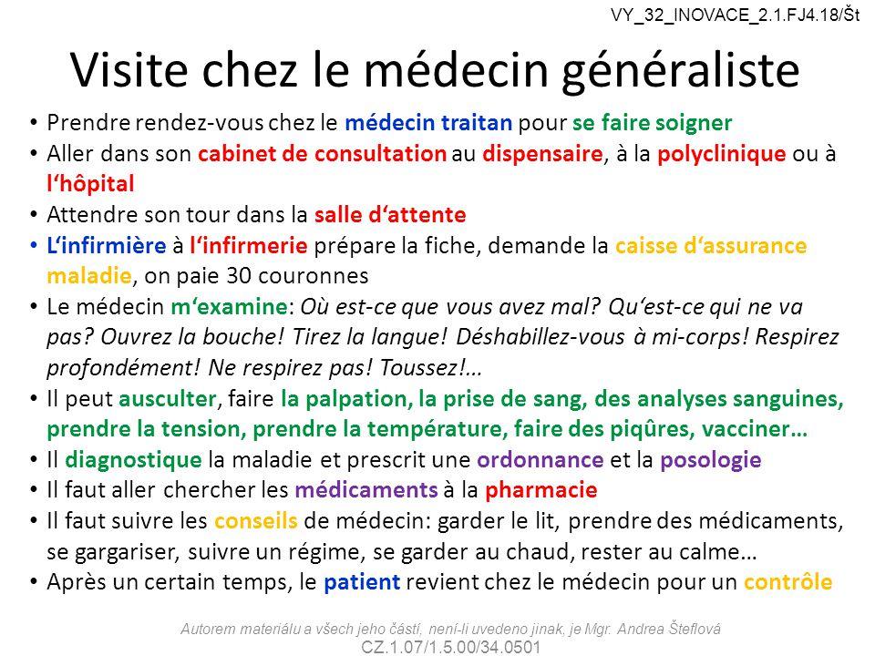 Visite chez le médecin généraliste Autorem materiálu a všech jeho částí, není-li uvedeno jinak, je Mgr. Andrea Šteflová CZ.1.07/1.5.00/34.0501 VY_32_I