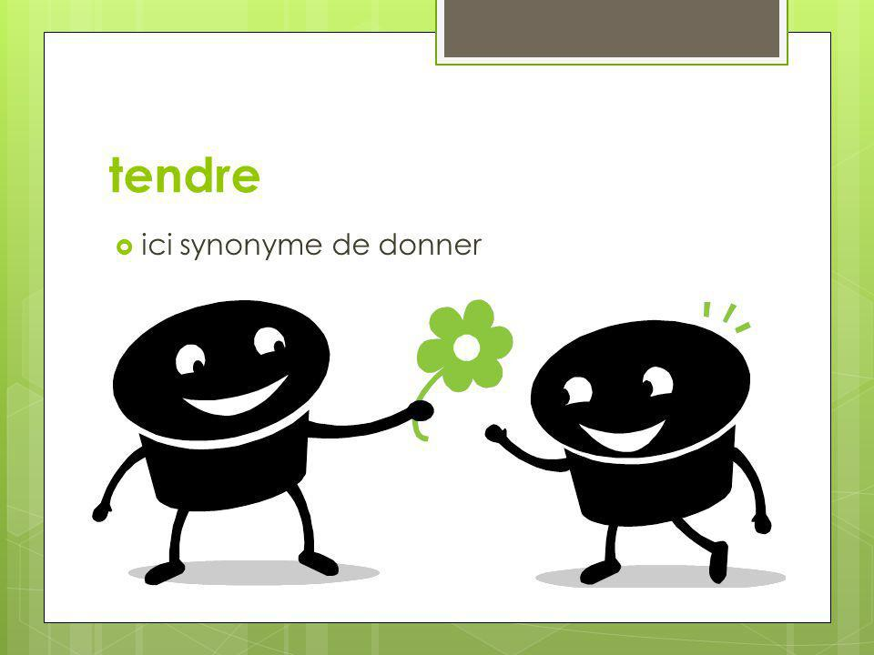 tendre  ici synonyme de donner