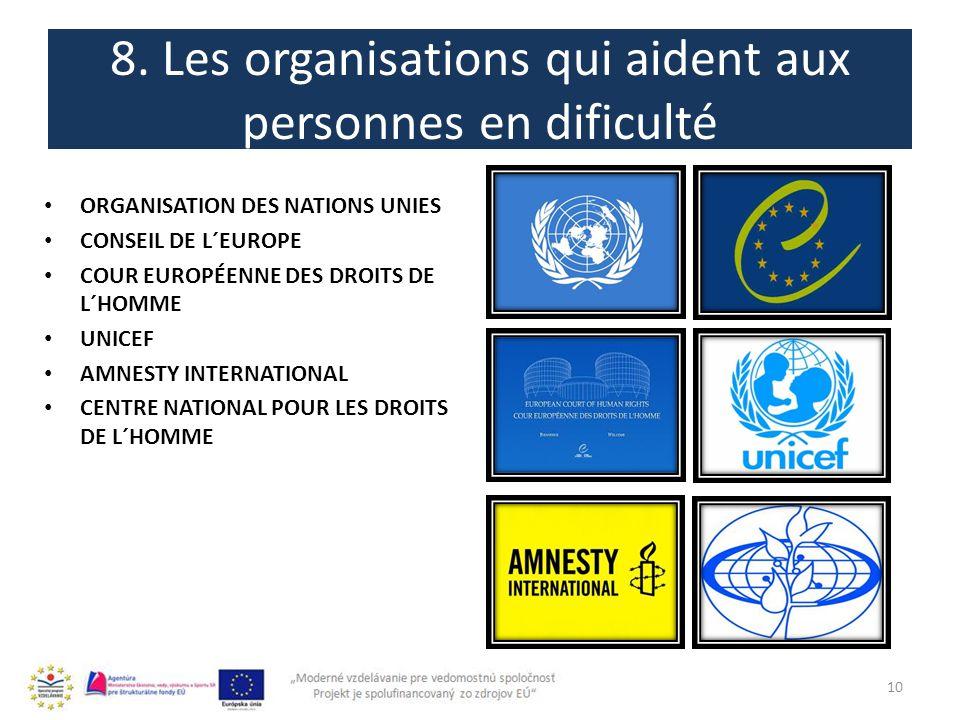 8. Les organisations qui aident aux personnes en dificulté 10 ORGANISATION DES NATIONS UNIES CONSEIL DE L´EUROPE COUR EUROPÉENNE DES DROITS DE L´HOMME