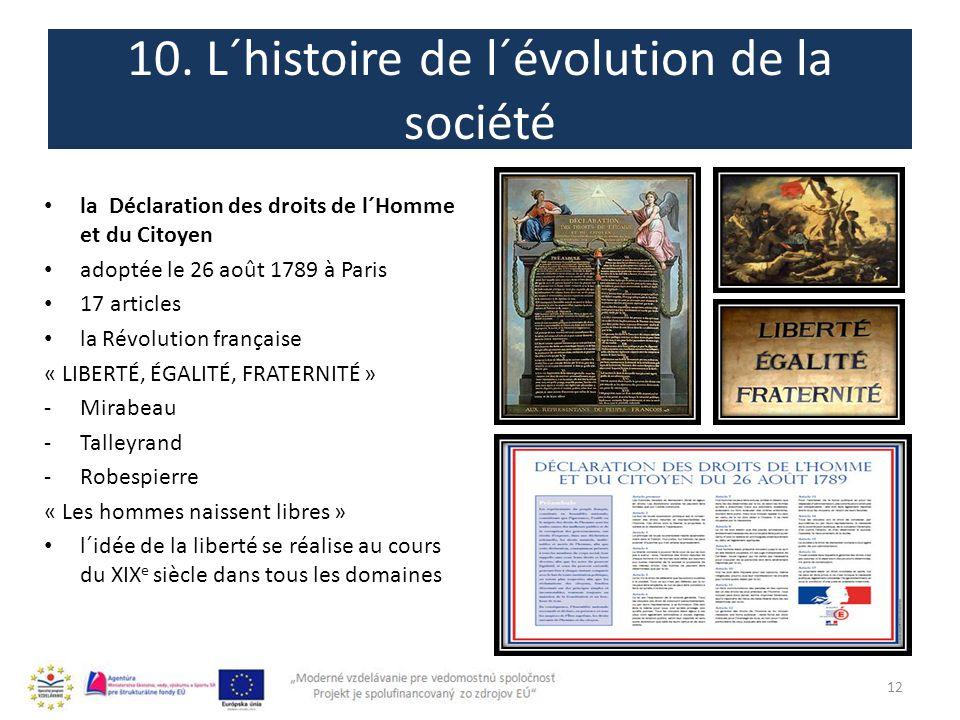 10. L´histoire de l´évolution de la société 12 la Déclaration des droits de l´Homme et du Citoyen adoptée le 26 août 1789 à Paris 17 articles la Révol