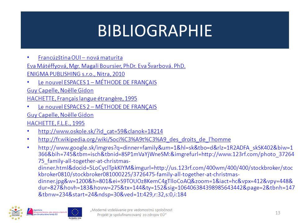 BIBLIOGRAPHIE 13 Francúzština OUI – nová maturita Eva Mátéffyová, Mgr.
