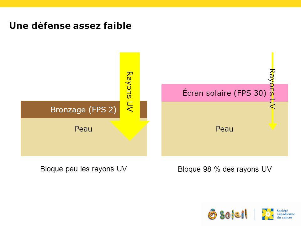 Une défense assez faible Peau Bronzage (FPS 2) Écran solaire (FPS 30) Rayons UV Bloque peu les rayons UV Bloque 98 % des rayons UV