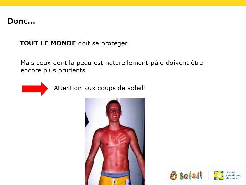 Donc… TOUT LE MONDE doit se protéger Mais ceux dont la peau est naturellement pâle doivent être encore plus prudents Attention aux coups de soleil!